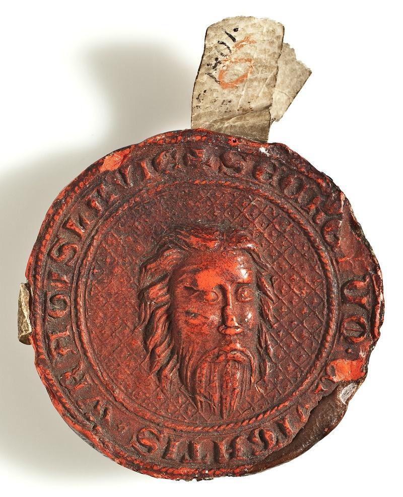 Wrocławska pieczęć sekretna, odcisk z 1401 r. wykonany tłokiem z 1343 r.
