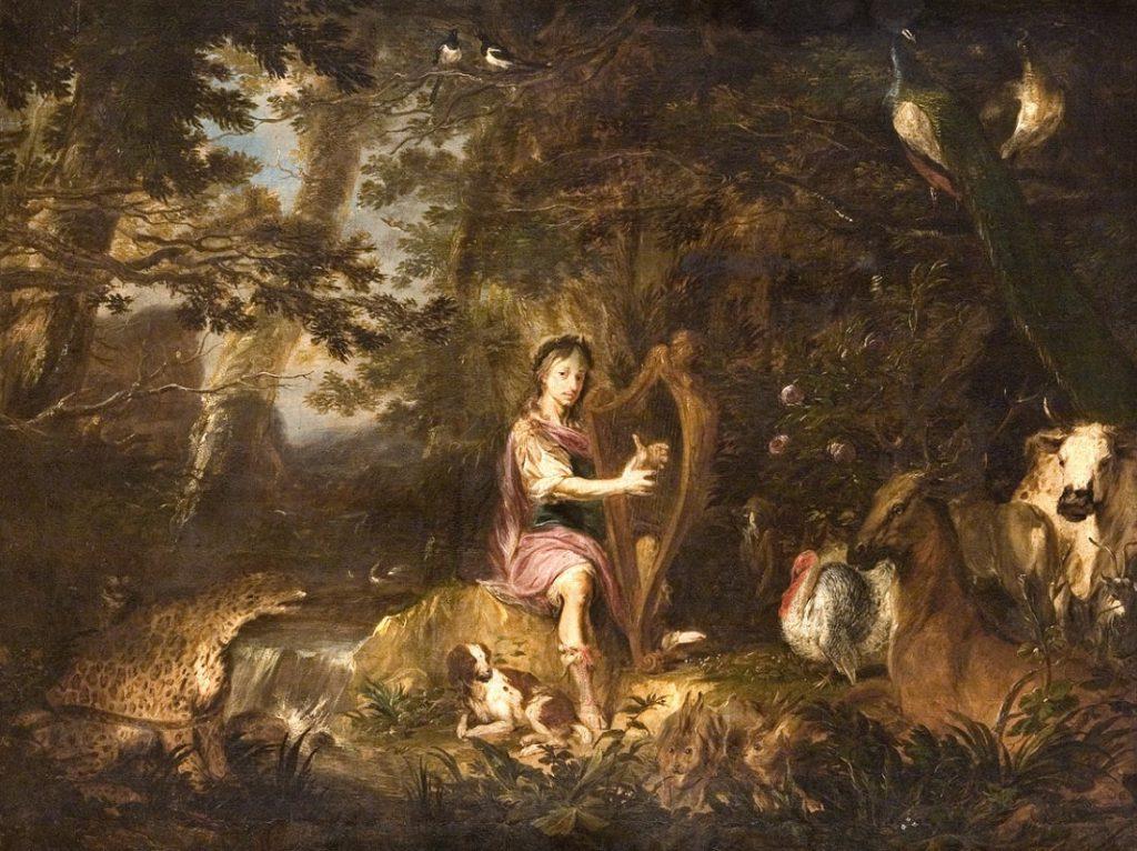 wśród drzew i zwierząt Orfeusz gra na harfie