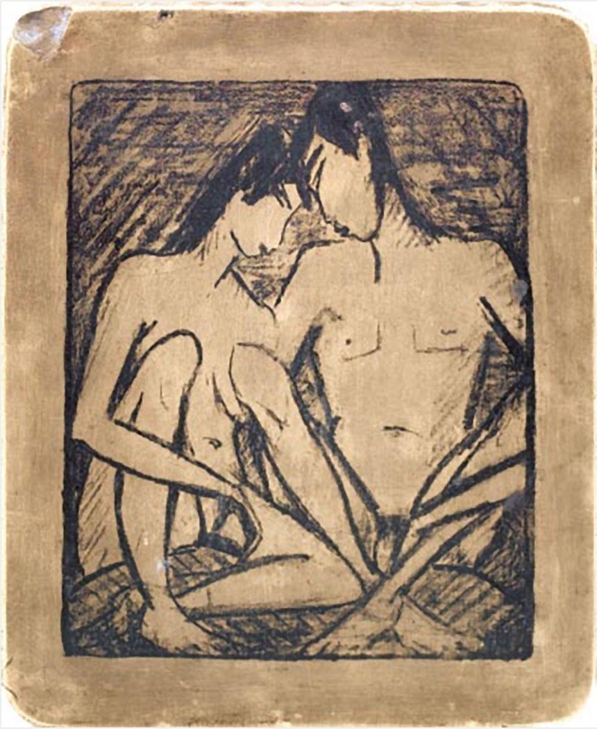 Otto Mueller, Siedzący kochankowie, 1919