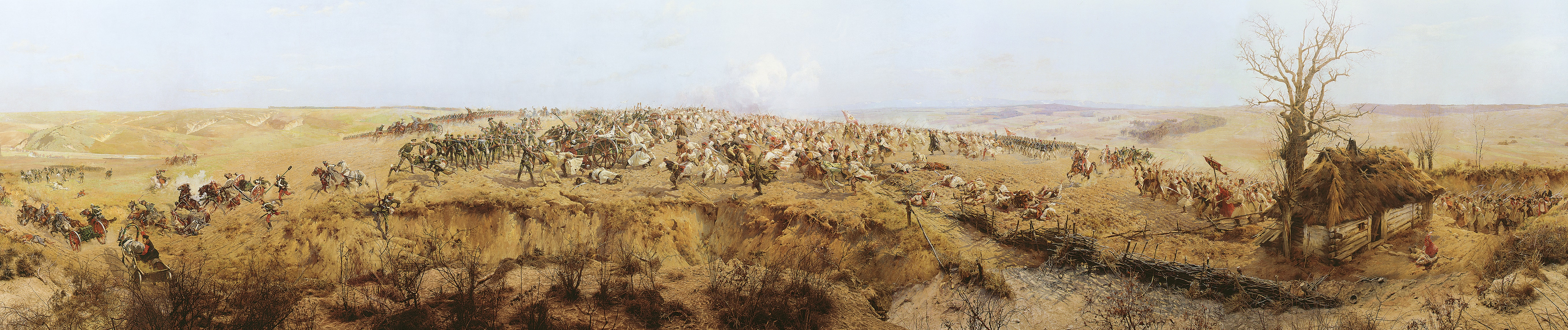 The idea of painting the panorama of the historic battle came from Jan Styka (1858-1925), a well-known artist from Lwów [now Lviv in Ukraine], who invited Wojciech Kossak (1856-1942), an eminent painter of battle scenes, to collaborate on his project. They were assisted by Ludwig Boller, Tadeusz Popiel, Zygunt Rozwadowski, Teodor Axentowicz, Włodzimierz Tetmajer, Wincenty Wodzinowski and Michał Sozański. The artists were mainly concerned with commemorating the national traditions on the occasion of the 100th anniversary of the Kościuszko Insurrection – the victorious battle of Racławice on 4 April 1794, fought by the insurgents (including the famous scythe-wielding troops) led by General Tadeusz Kościuszko (1746-1817) against the invading Russian troops commanded by General Alexander Tormasov.