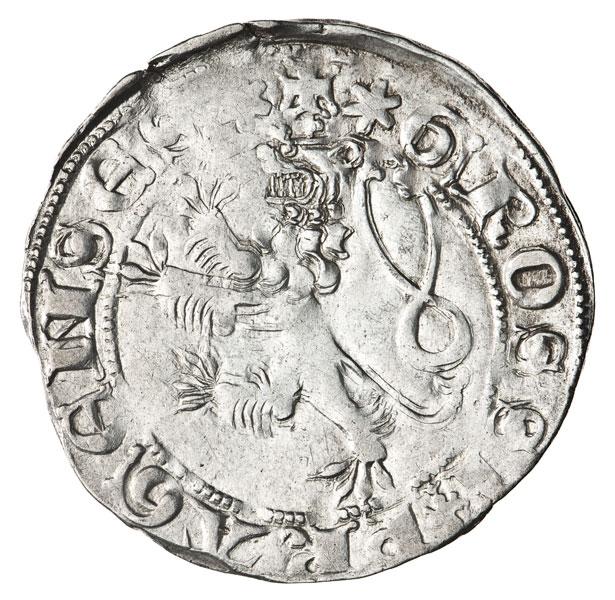 srebrna moneta z czeskim lwem