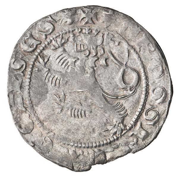 srebrna moneta zczeskim lwem