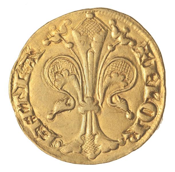 złota moneta z lilijką
