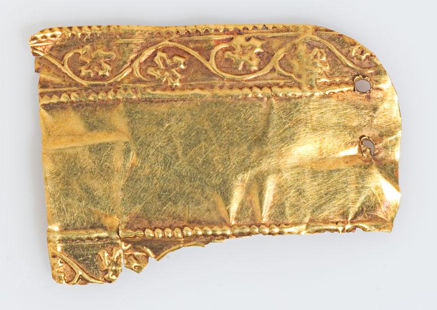 fragment złotej blachy