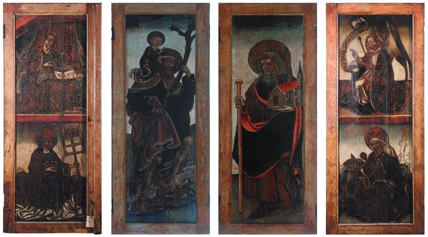 foto: retabulum zesceną Zwiastowanie Marii orazpostacie świętych: Wawrzyńca, Elżbiety, Krzysztofa iSebalda