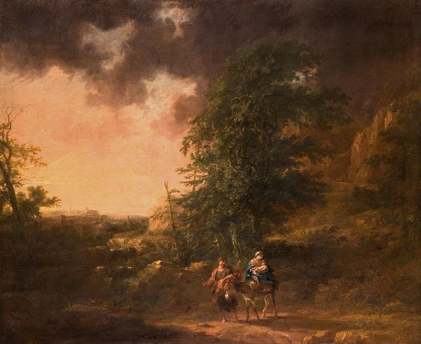 krajobraz leśny z kłębowiskiem chmur, w dolnej części ukazana została wędrująca biblijna rodzina