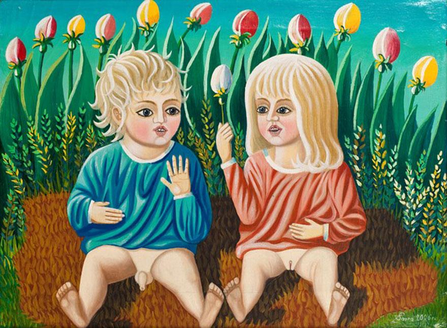 kolorowy portret siedziących chłopcyka idziewczyni