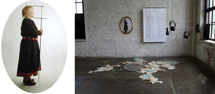 Instalacja artystki – wramie naścianie prezentowana jest jest mierzona postać