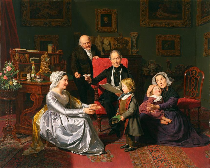 obraz przedstawia rodzinę adoptującą dziecko, które musi im oddać biedna matka