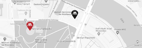 mapa z Panorama Raclawicka i Muzeum Narodowym we Wroclawiu