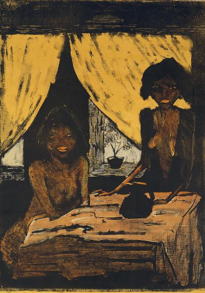 dwie dziewczynki na tle okna z żółtymi zasłonami, obraz w ciemnej tonacji