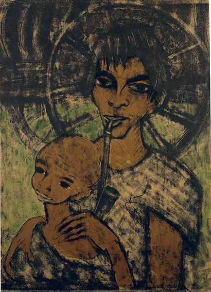 Romka z fajką trzyma na rękach dziecko