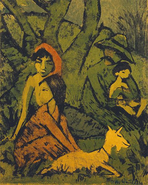 rodzina z kozą (żółte postacie na zielonym tle)