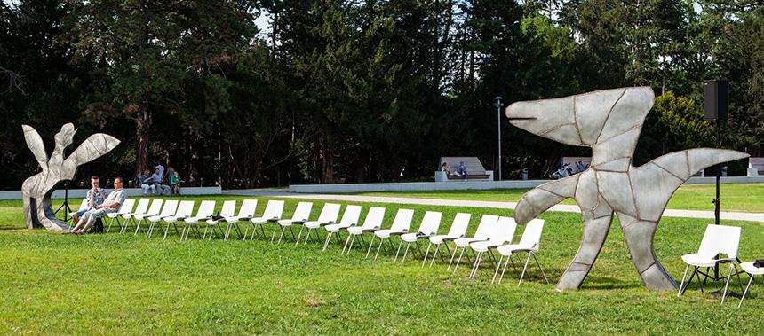 białe krzesła na trawniku