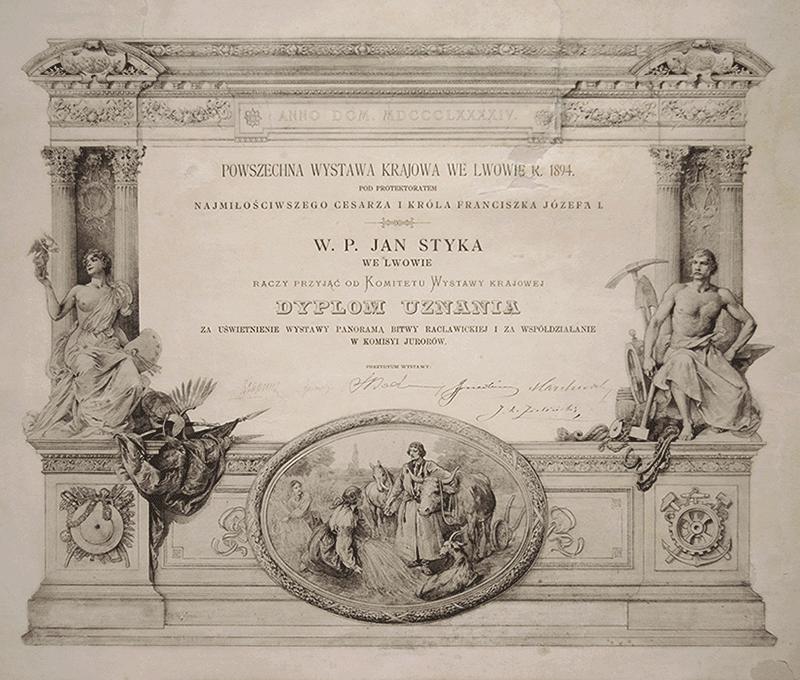 ozdobny dyplom znapisem m.in.: W.P. Jan Styka raczy przyjąć Dyplom Uznania