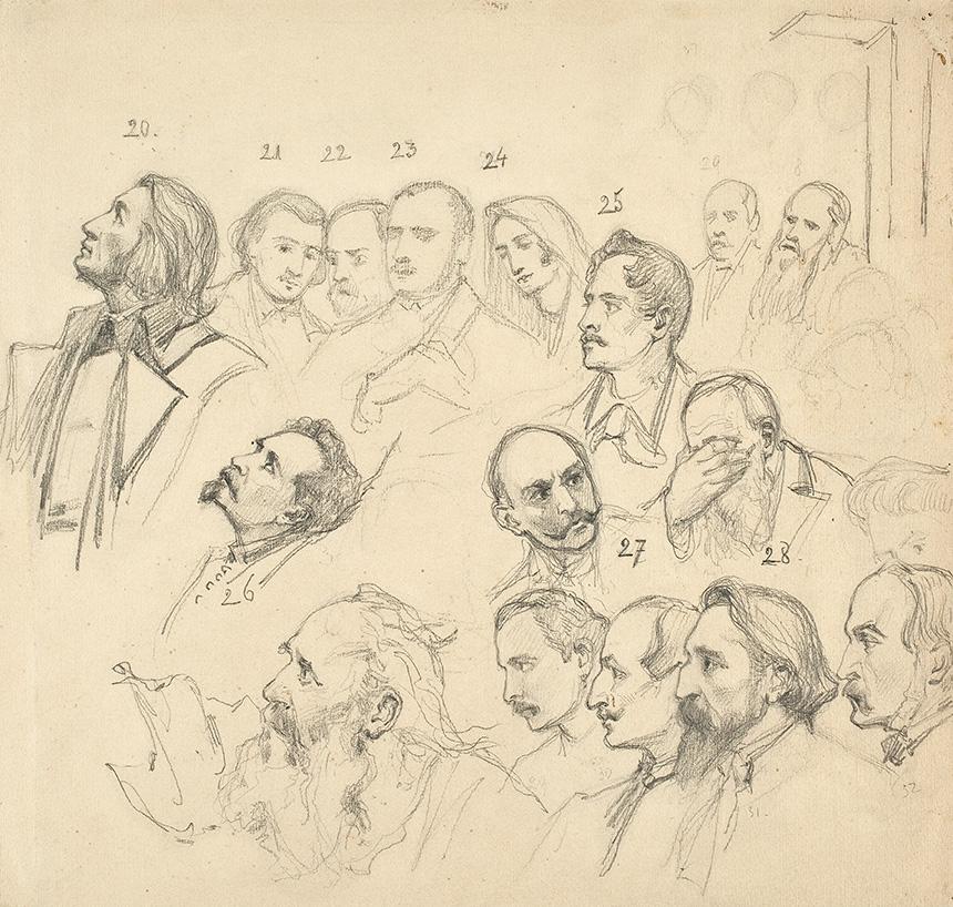 naszkicowane ołówkiem głowy słynnych postaci historycznych, m.in.Mickiewicza, Słowackiego itd.