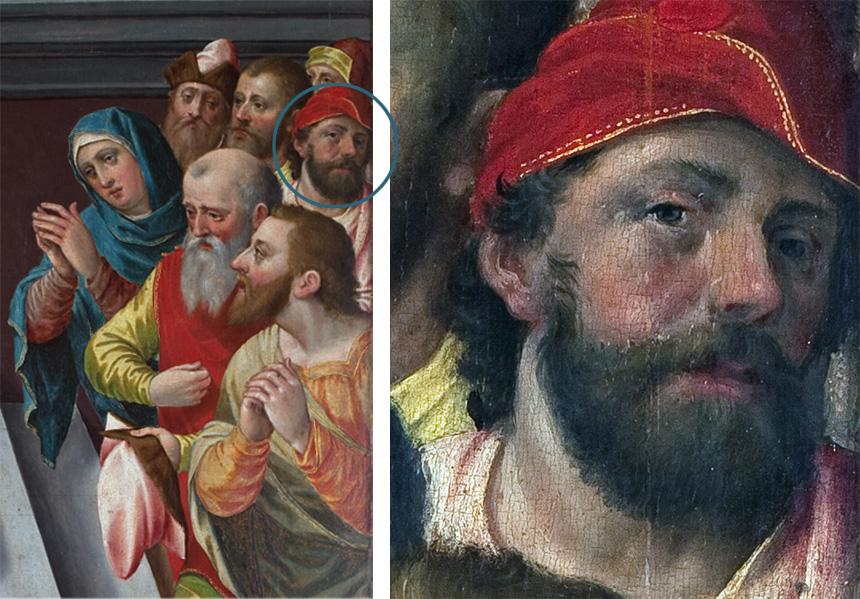 po lewej fragment obrazu zkilkoma osobami, poprawej wykadrowana głowa