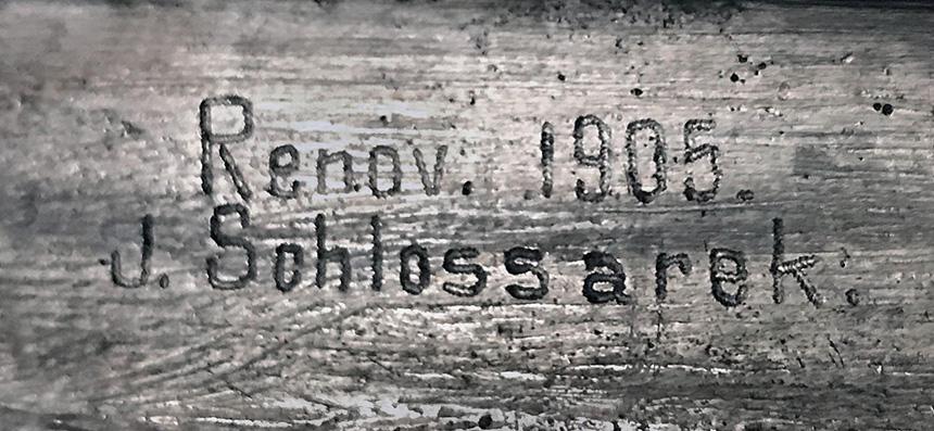 podpis Renov. 1905, J. Schlossarek.