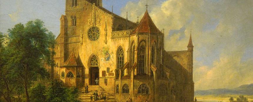 fragment pejzażu zkościołem