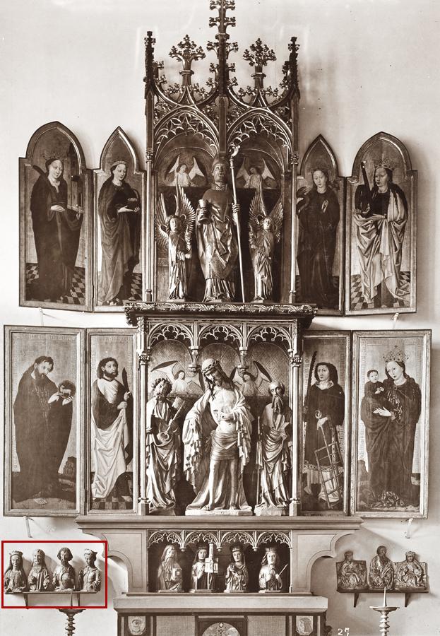 przedwojenna fotografia ołtarza, wlewym dolnym rogu Trzej Królowie