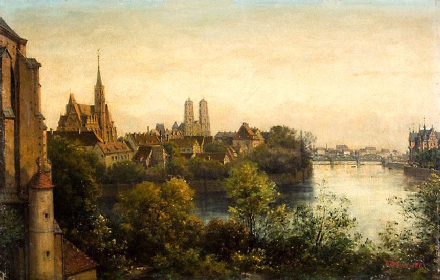 Adelbert Woelfl, Widok naOdrę iOstrów Tumski wWyspy Piaskowej, ok. 1890