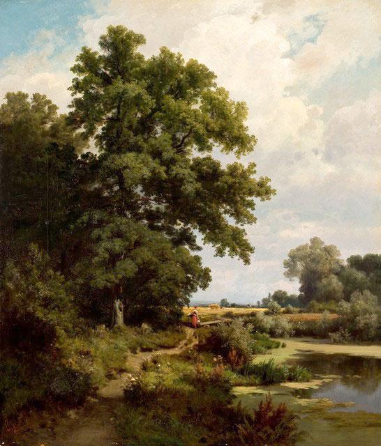 Adolf Dressler, Pejzaż zsianokosami, 1875