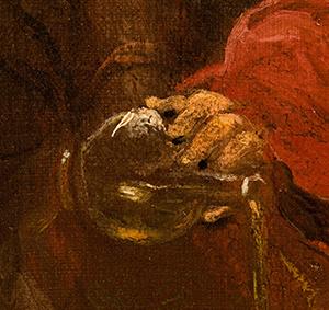 fragment obrazu Miłosierny Samarytanin – dłoń znaczyniem zolejkiem