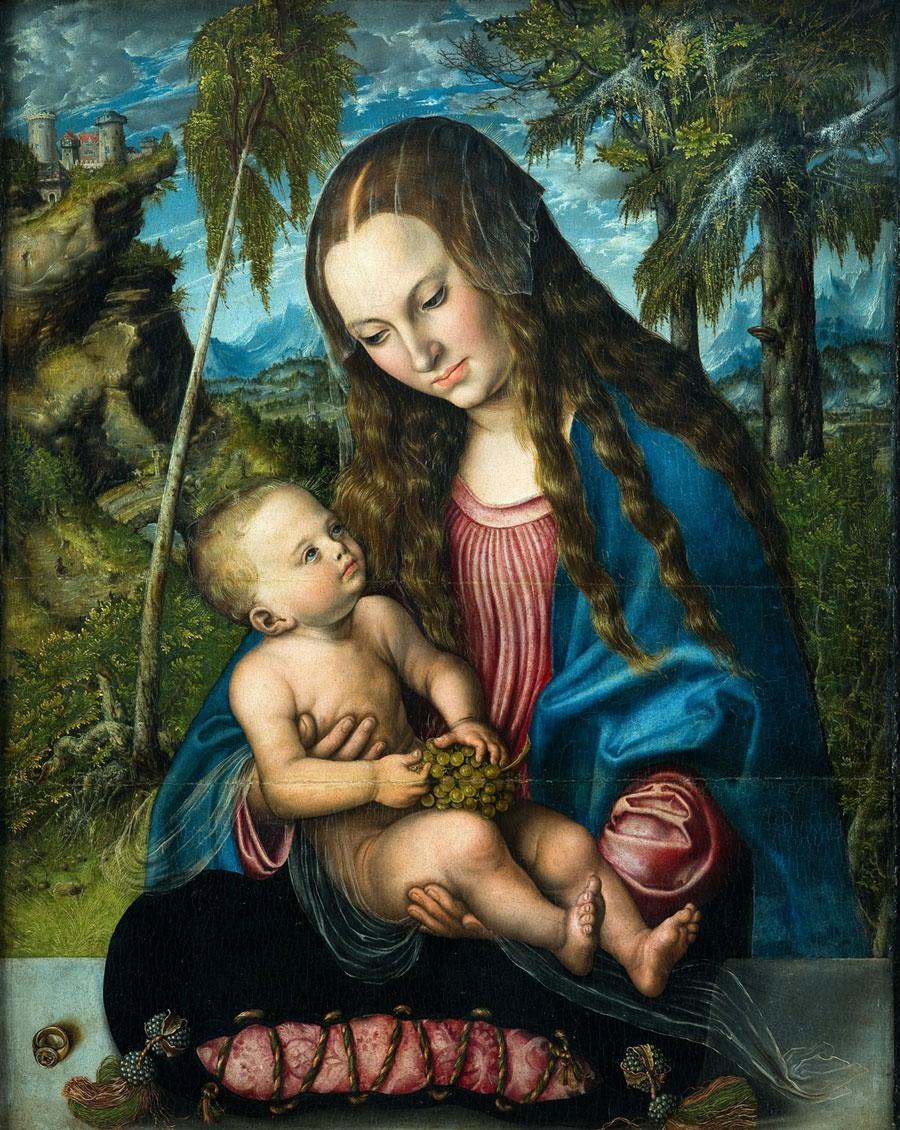 Lucas Cranach starszy, Madonna podjodłami, ok. 1510