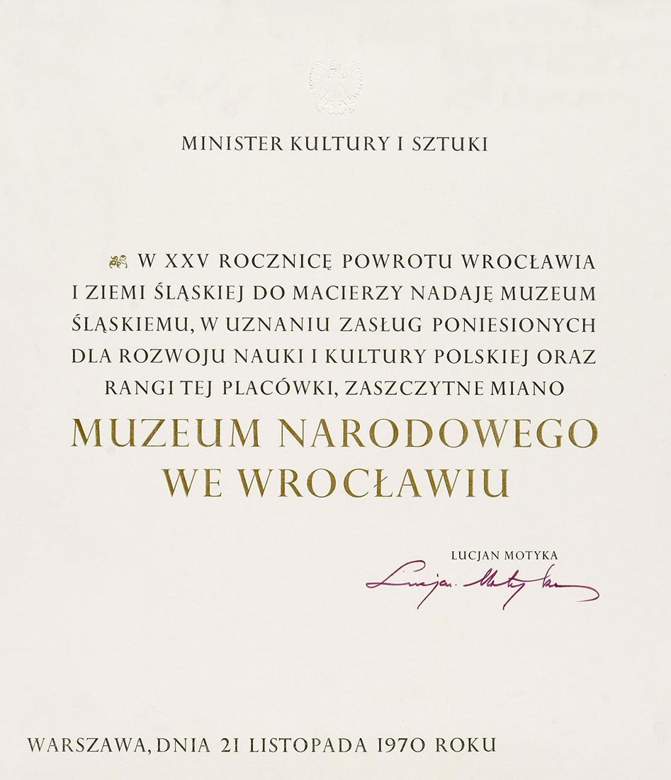 Dokument nadający nazwę Muzeum Narodowe weWrocławiu