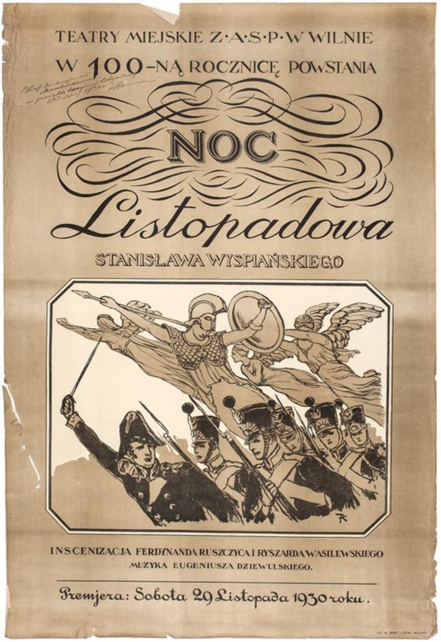 Plakat reklamujący spektakl Nocy listopadowej wystawiony w1930 r. wWilnie wstulecie Powstania Listopadowego