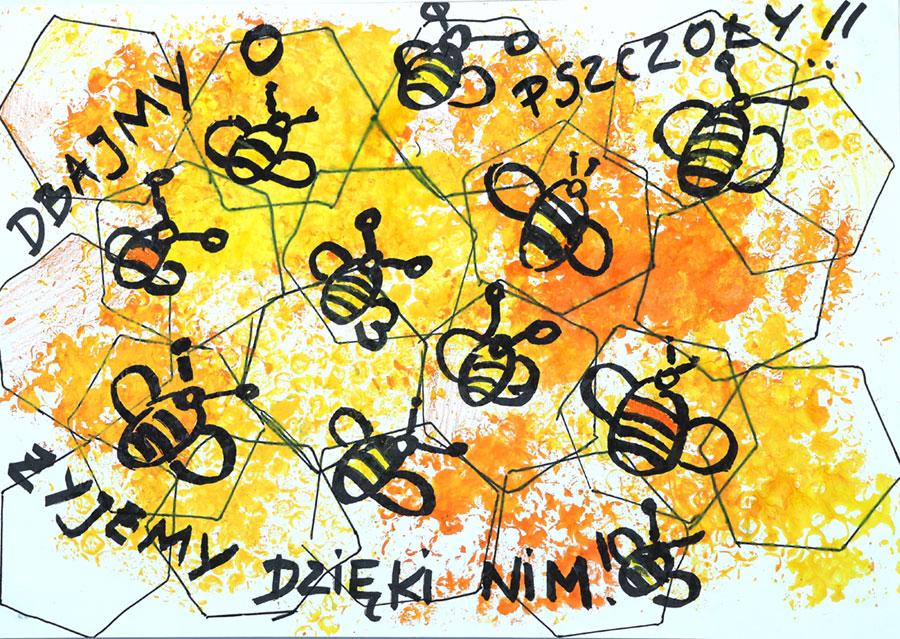 pszczoły natle plastrów miodu
