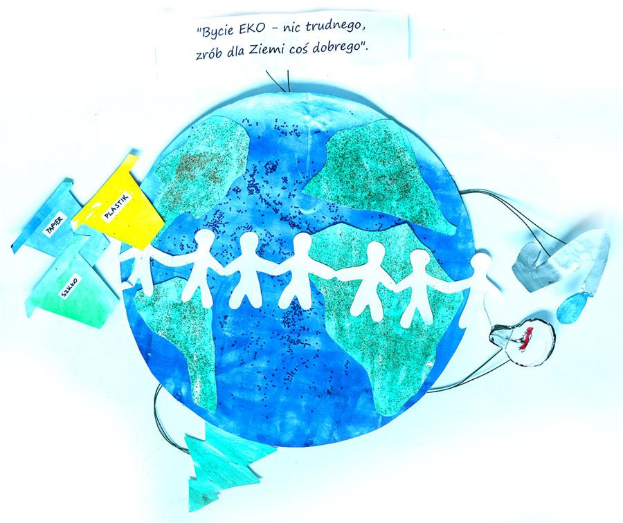 białe postaci ludzi trzymających się zaręce natle niebieskiej kuli ziemskiej, orazsymbole eko
