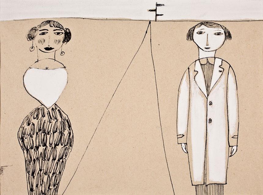 na sepiowym kolorze czarną kreską namalowane postacie: polewej pani wmiałej bluzce iczarnej spódnicy, poprawej pan wbiałym płaszczu
