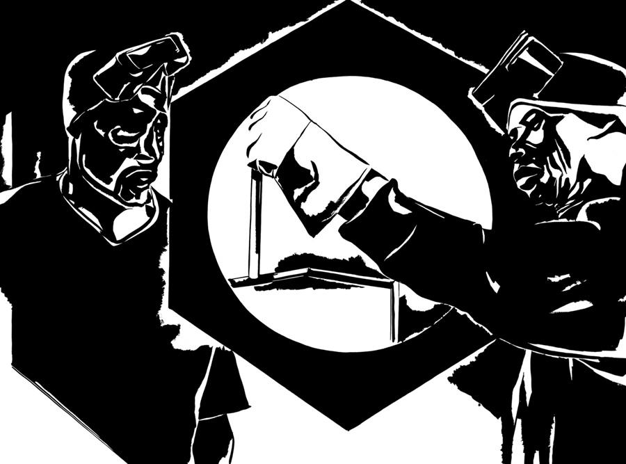 czarno-biała ilustracja przedstawiająca dwóch pracowników