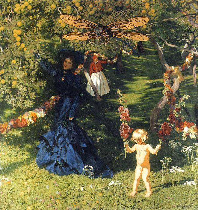 Na tle bujnych roślin kobieta wdługiej niebieskiej sukni, zanią dziewczyna, aobok dziecko zkwiatem wdłoni, nadnimi unosi się wielka ważka