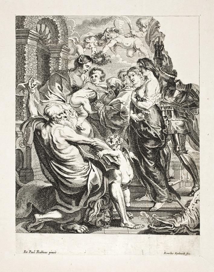 Fragment grafiki zMadonną, Dzieciątkiem iświętymi
