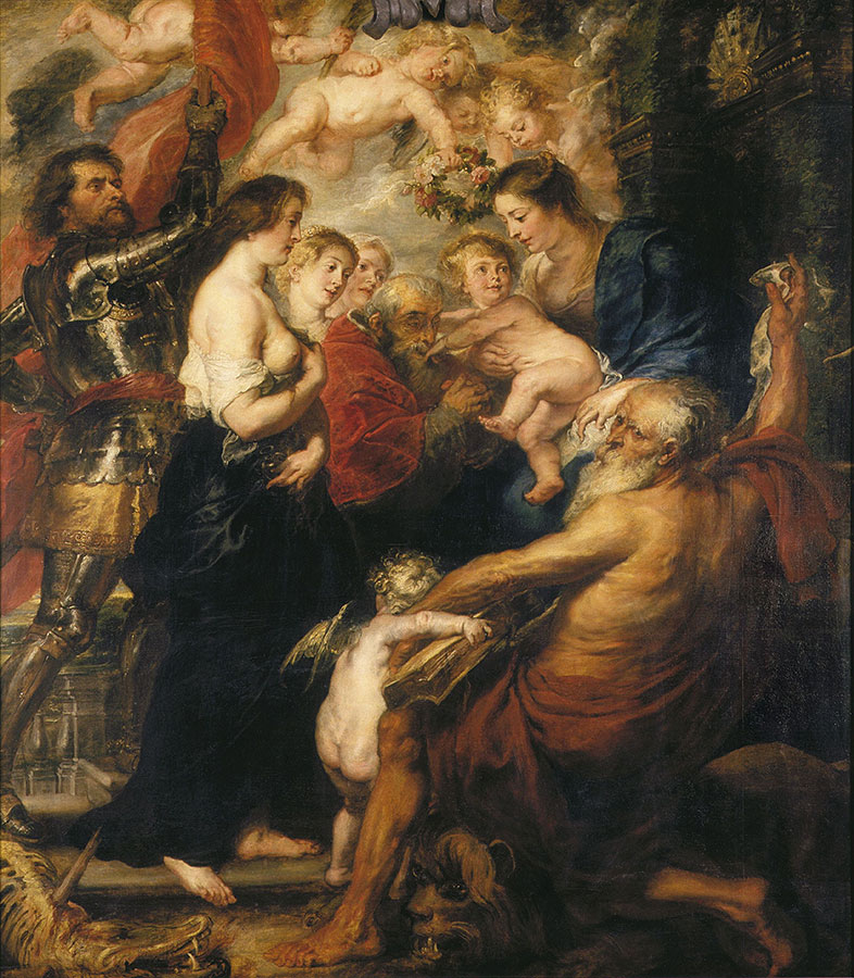Obraz Madonna zDzięciątkiem wotoczeniu świętych