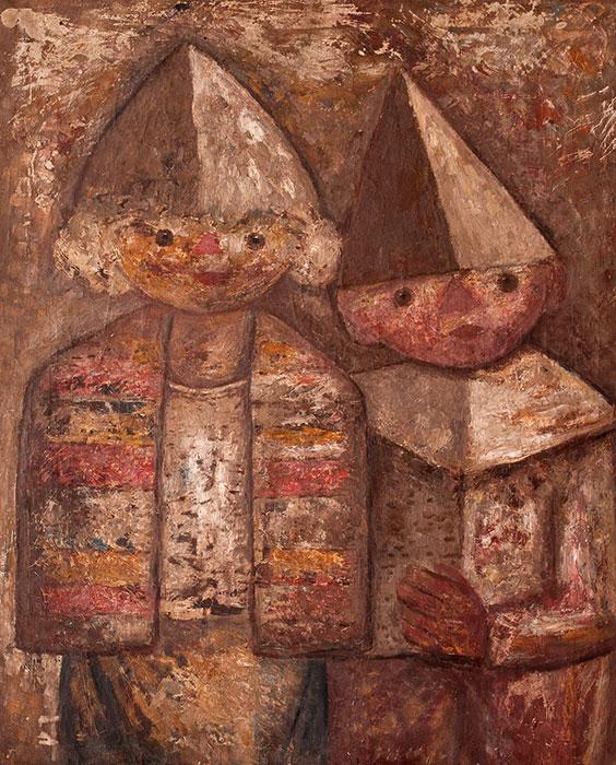 sepiowe postacie sfigurowane: dziewczyna ichłopiec wszpiczastych czapkach jak krasnale