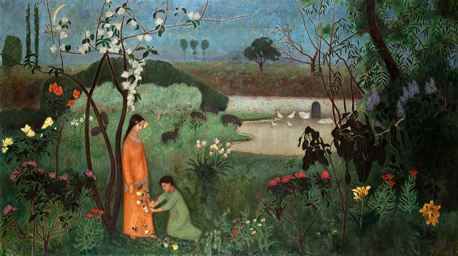 na tle łąki ikwiatów stojąca dziewczyna iklęczący chłopiec trzymają kwiaty