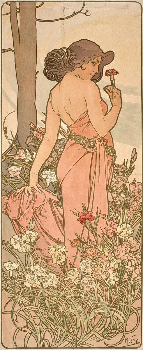 dziewczyna wdługiej różowej sukni natle kwiatów