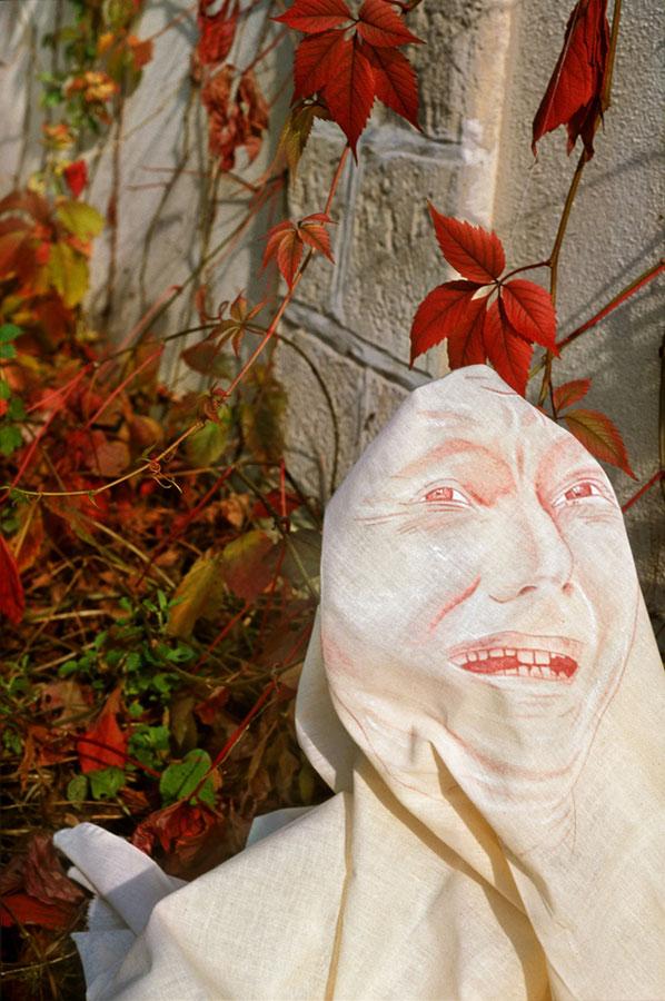 namalowana nasurówce bawełnianej tuszem iakrylem twarz wgrymasie, wtle czerwone jesienne pnącze