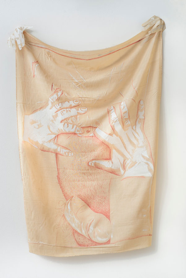 tuszem iakrylem nasurówce bawełnianej namalowane dłonie ifragment męskiego ciałą