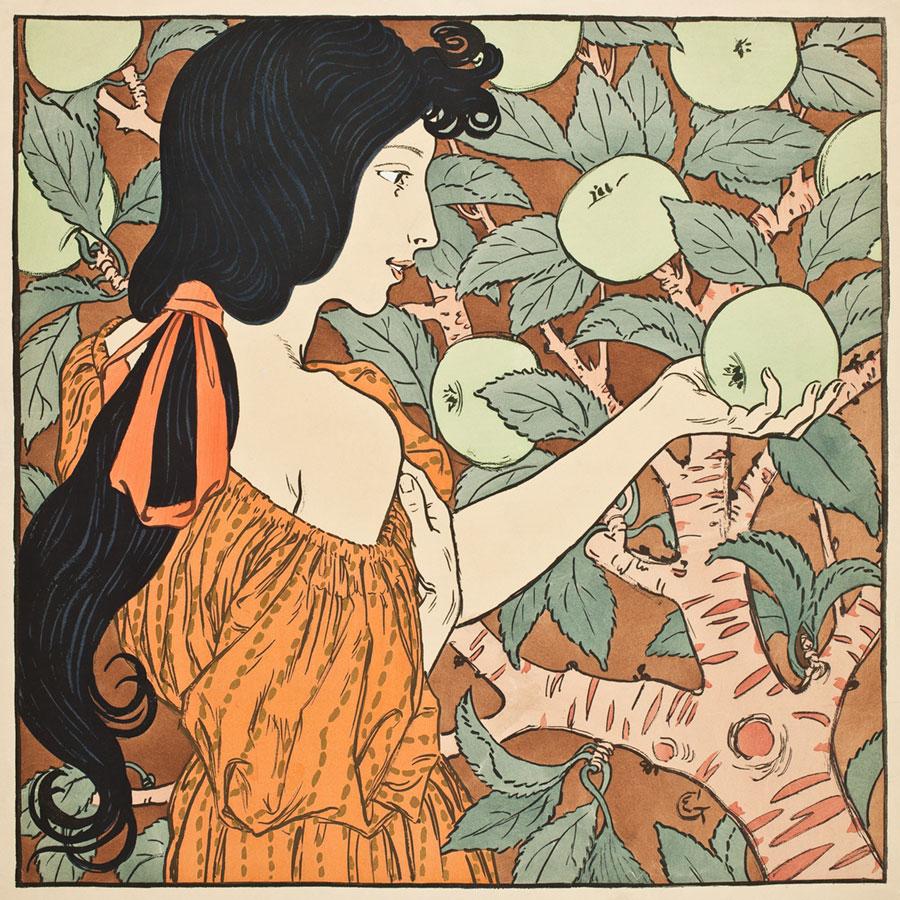 Czarnowłosa dziewczyna zrywająca jabłko