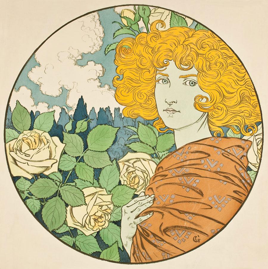 Dziewczyna oblond włosach natle białych róż