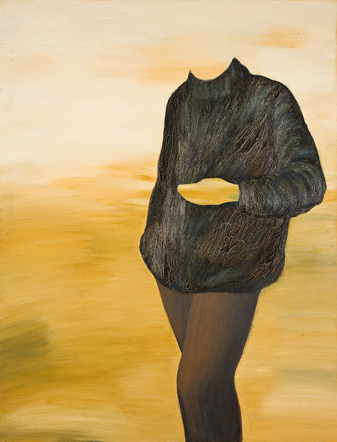 na żółtym tle sylwetka wczarnym swetrze ispodniach, ma tylkozarys twarzy idłoni