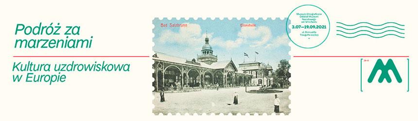 Baner reklamujący wystawę ouzdrowiskach stylizowany nakartę pocztową