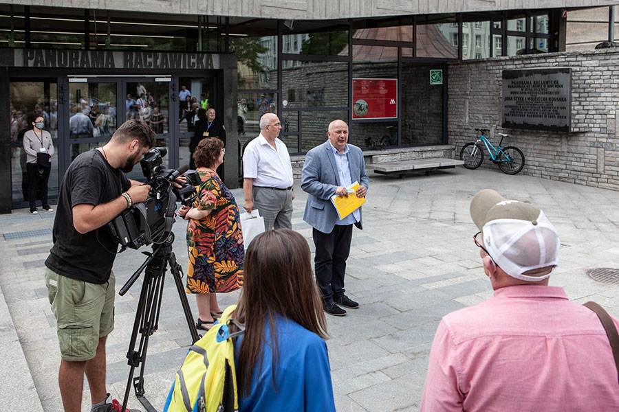 Konferencja prasowa przed otwarciem Panoramy Racławickiej