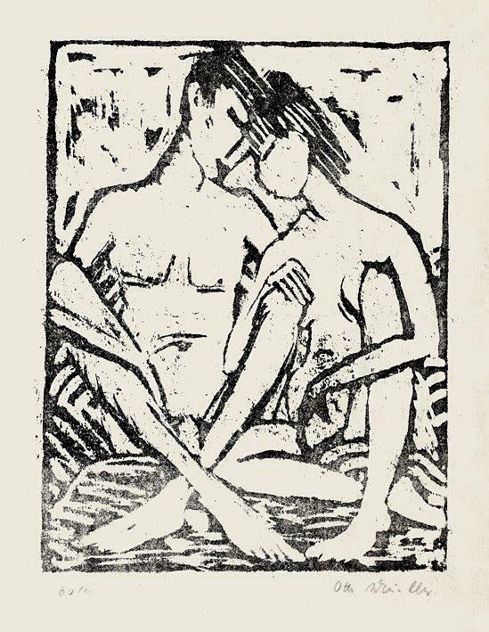odbitka grafiki siedzącej pary kochanków