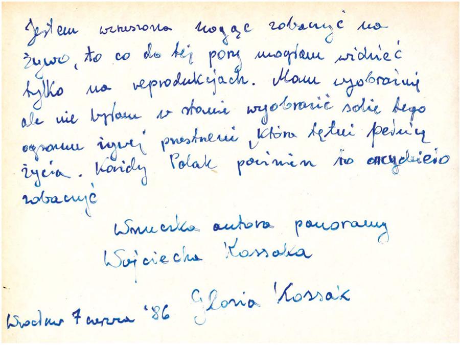 Wpis pamiątkowy Glorii Kossak wPanoramie Racławickiej