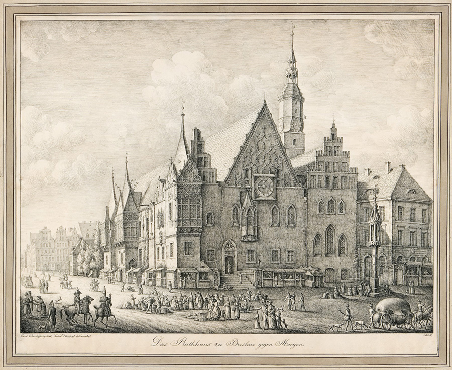 Wrocław według Bacha – wrocławski ratusz nastarej rycinie